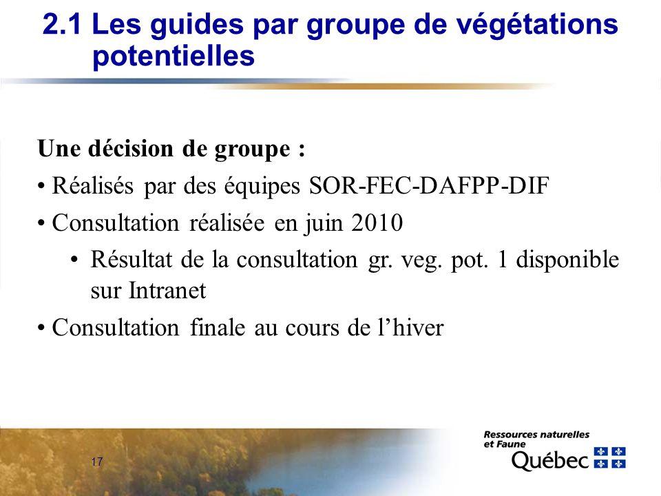 17 Une décision de groupe : Réalisés par des équipes SOR-FEC-DAFPP-DIF Consultation réalisée en juin 2010 Résultat de la consultation gr.