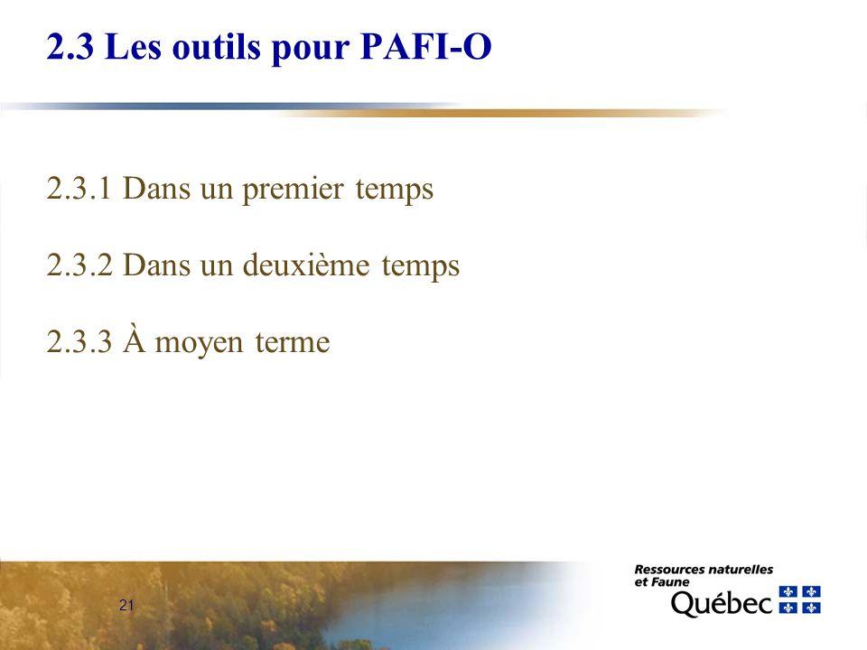 21 2.3 Les outils pour PAFI-O 2.3.1 Dans un premier temps 2.3.2 Dans un deuxième temps 2.3.3 À moyen terme