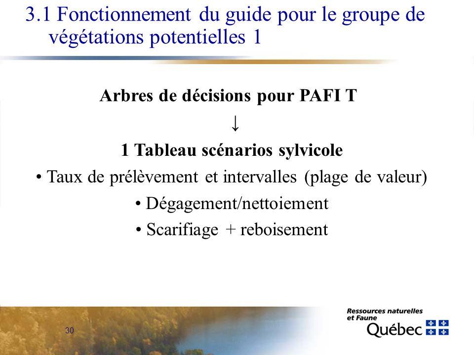 30 3.1 Fonctionnement du guide pour le groupe de végétations potentielles 1 1 Tableau scénarios sylvicole Taux de prélèvement et intervalles (plage de valeur) Dégagement/nettoiement Scarifiage + reboisement Arbres de décisions pour PAFI T