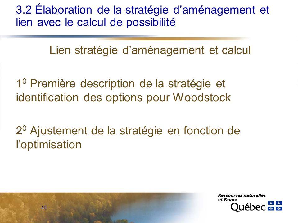 49 Lien stratégie daménagement et calcul 1 0 Première description de la stratégie et identification des options pour Woodstock 2 0 Ajustement de la stratégie en fonction de loptimisation 3.2 Élaboration de la stratégie daménagement et lien avec le calcul de possibilité
