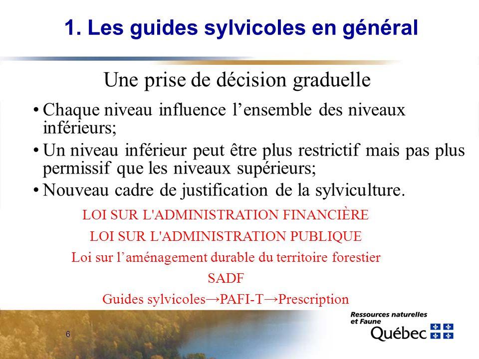 7 Le guide sylvicole provincial Les guides par groupes de veg.