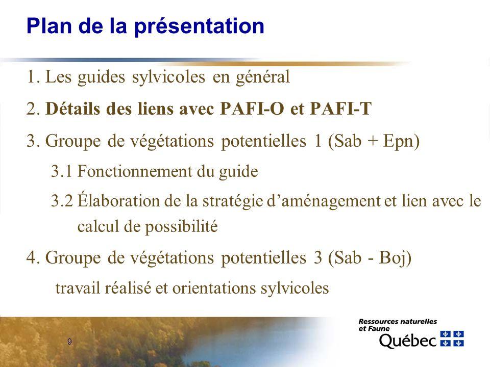 9 Plan de la présentation 1. Les guides sylvicoles en général 2.