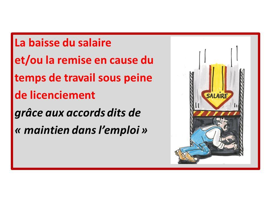 La baisse du salaire et/ou la remise en cause du temps de travail sous peine de licenciement grâce aux accords dits de « maintien dans lemploi »
