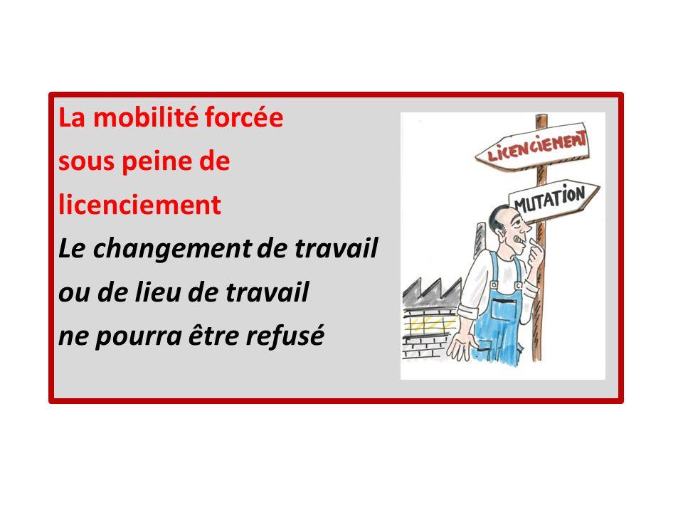 La mobilité forcée sous peine de licenciement Le changement de travail ou de lieu de travail ne pourra être refusé