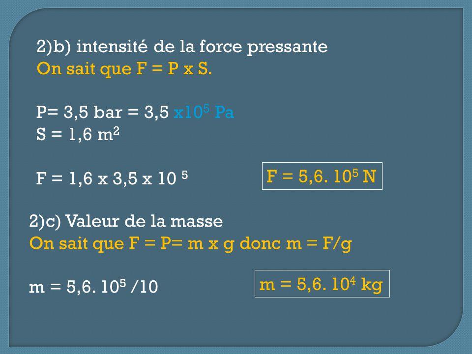 2)d) Volume de lair des poumons Daprès la loi de Boyle-Mariotte, on sait que: P 1 x V 1 = P 2 x V 2 (1: à la surface de leau et 2 : à 25 m de profondeur) P 1 = 1 bar V 1 = 7,5 L P 2 = 3 V 2 : volume recherché V 2 = P 1 x V 1 / P 2 = (1 x 7,5)/3,5 = 2,1 L V 2 = 2,1L