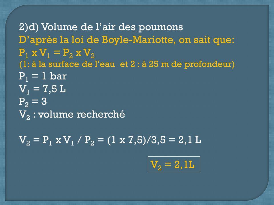 2)d) Volume de lair des poumons Daprès la loi de Boyle-Mariotte, on sait que: P 1 x V 1 = P 2 x V 2 (1: à la surface de leau et 2 : à 25 m de profonde