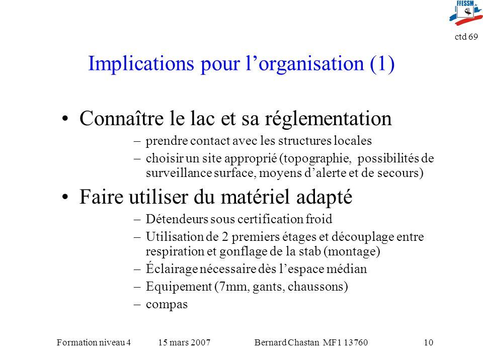 Bernard Chastan MF1 1376015 mars 2007Formation niveau 4 ctd 69 10 Implications pour lorganisation (1) Connaître le lac et sa réglementation –prendre c