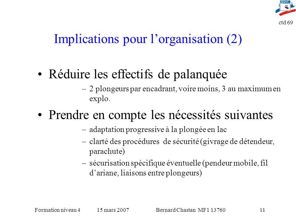 Bernard Chastan MF1 1376015 mars 2007Formation niveau 4 ctd 69 11 Implications pour lorganisation (2) Réduire les effectifs de palanquée –2 plongeurs