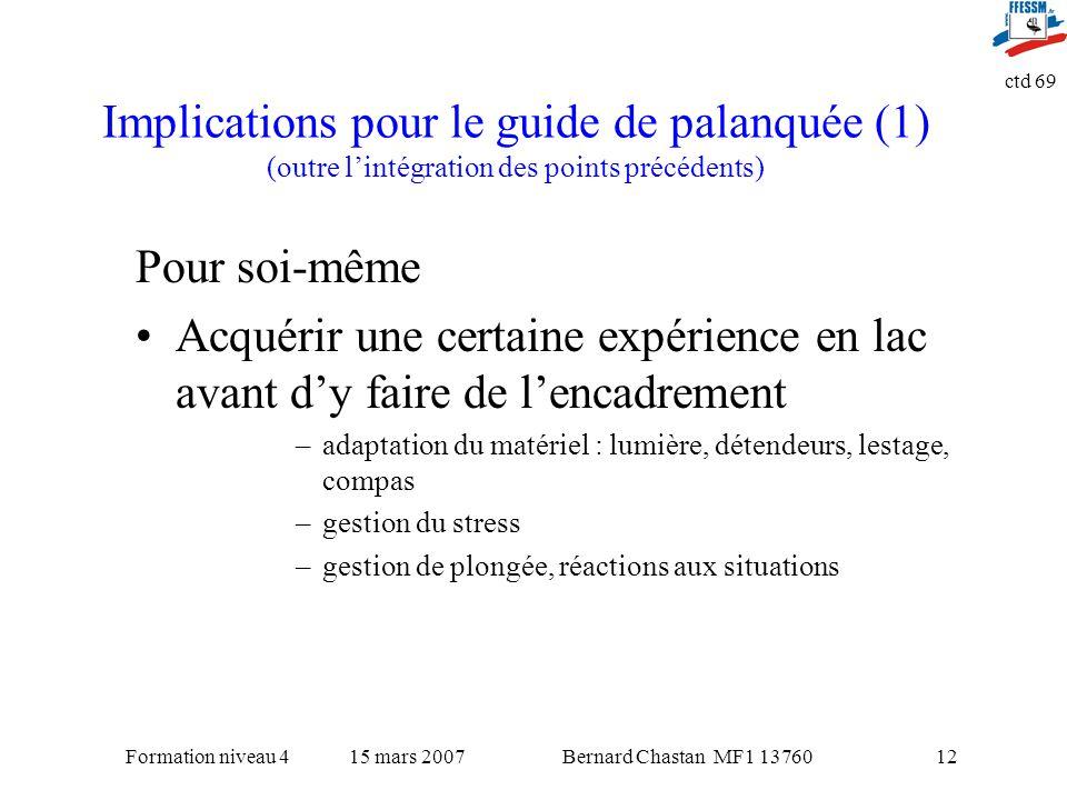 Bernard Chastan MF1 1376015 mars 2007Formation niveau 4 ctd 69 12 Implications pour le guide de palanquée (1) (outre lintégration des points précédent