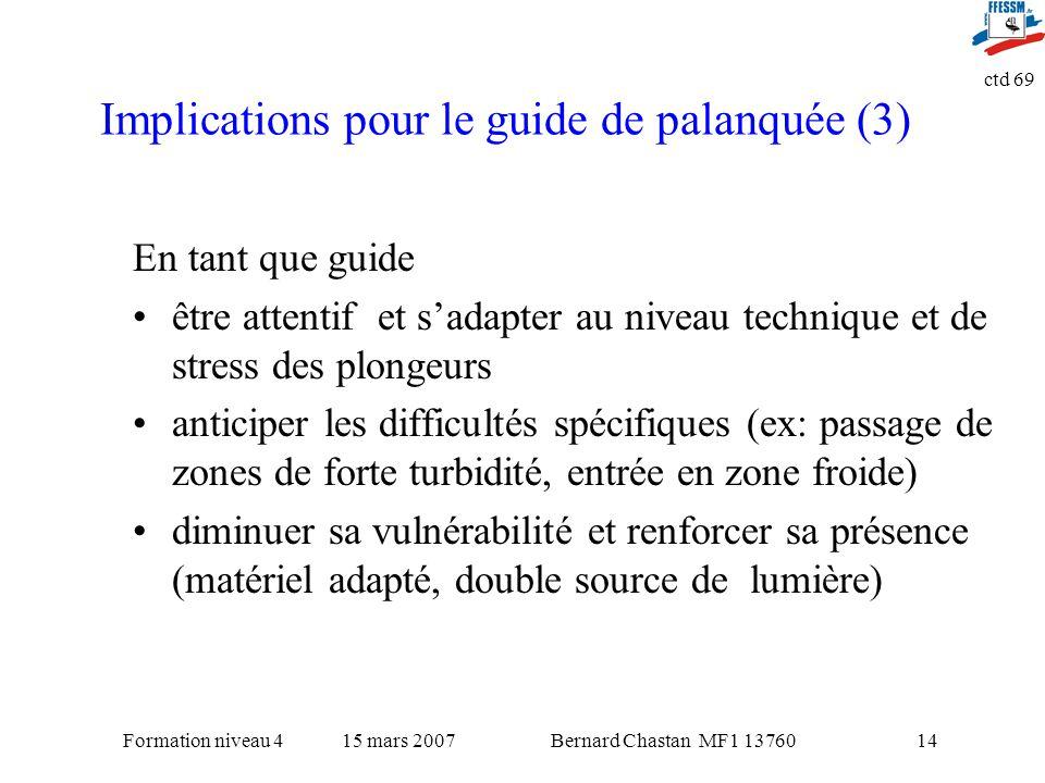 Bernard Chastan MF1 1376015 mars 2007Formation niveau 4 ctd 69 14 Implications pour le guide de palanquée (3) En tant que guide être attentif et sadap