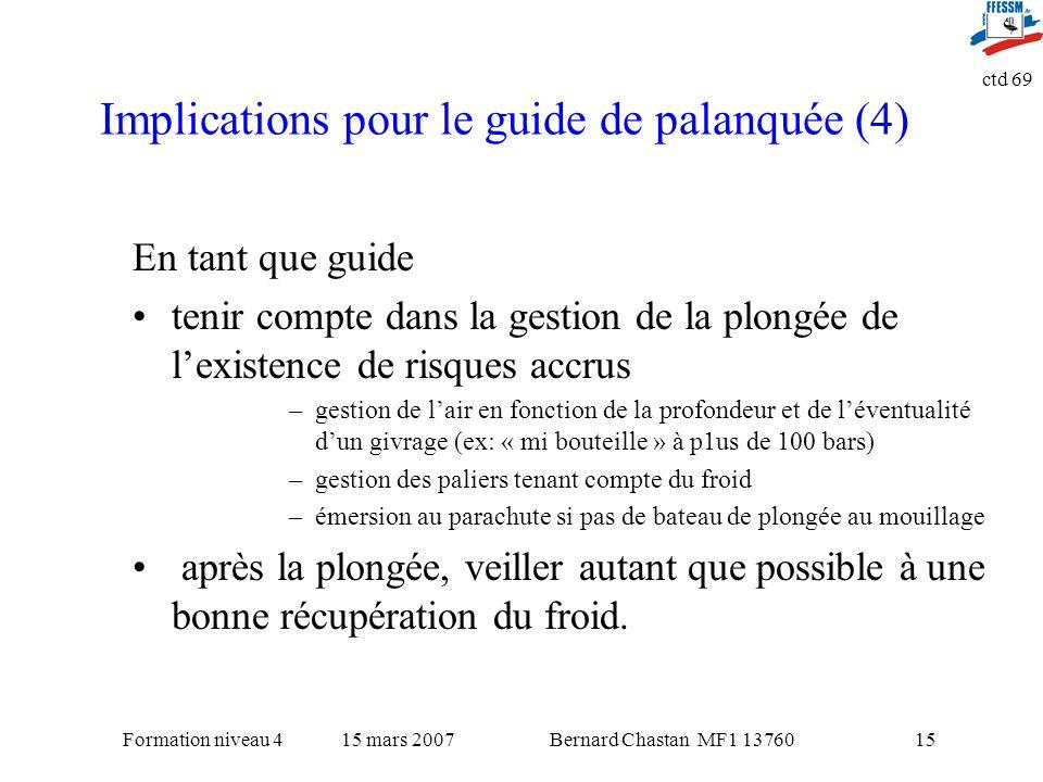 Bernard Chastan MF1 1376015 mars 2007Formation niveau 4 ctd 69 15 Implications pour le guide de palanquée (4) En tant que guide tenir compte dans la g