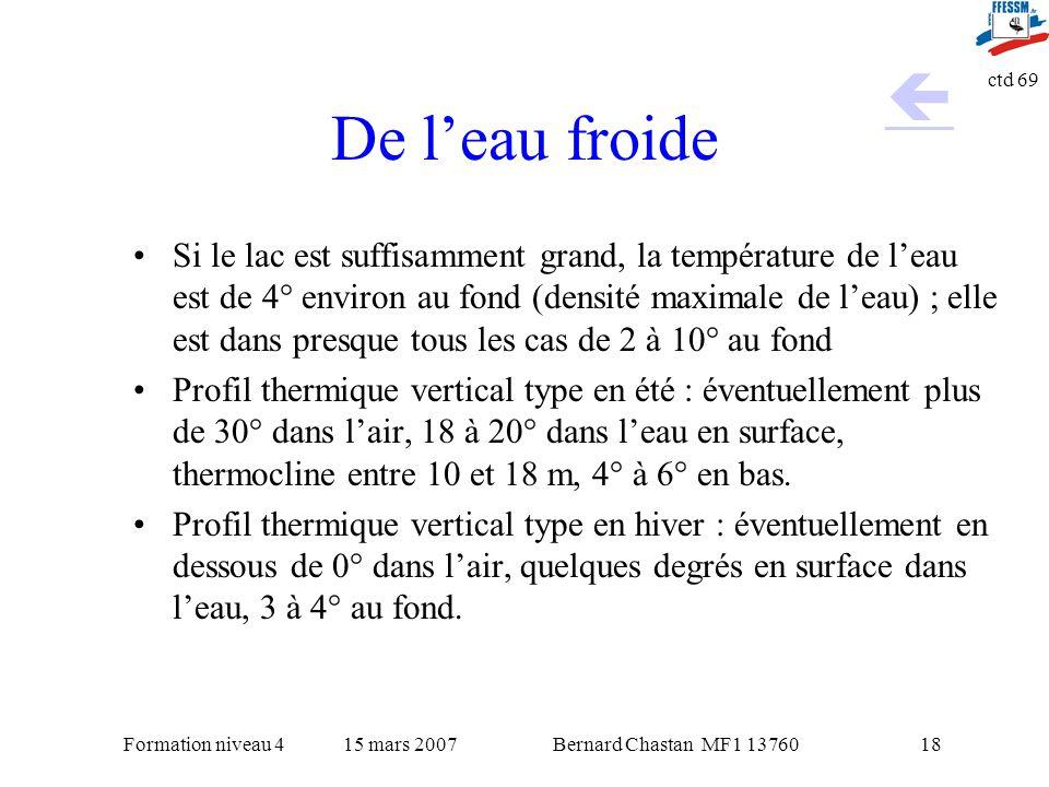 Bernard Chastan MF1 1376015 mars 2007Formation niveau 4 ctd 69 18 De leau froide Si le lac est suffisamment grand, la température de leau est de 4° en