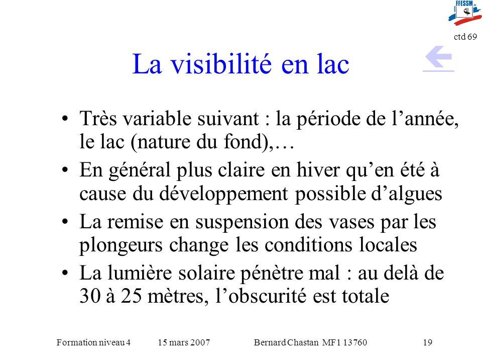 Bernard Chastan MF1 1376015 mars 2007Formation niveau 4 ctd 69 19 La visibilité en lac Très variable suivant : la période de lannée, le lac (nature du