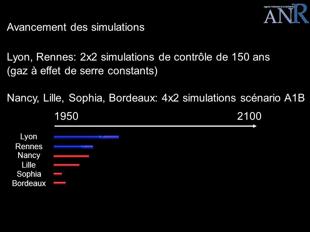 LEGO EPISODE III Avancement des simulations Lyon, Rennes: 2x2 simulations de contrôle de 150 ans (gaz à effet de serre constants) Nancy, Lille, Sophia, Bordeaux: 4x2 simulations scénario A1B 19502100 Lyon Rennes Nancy Lille Sophia Bordeaux
