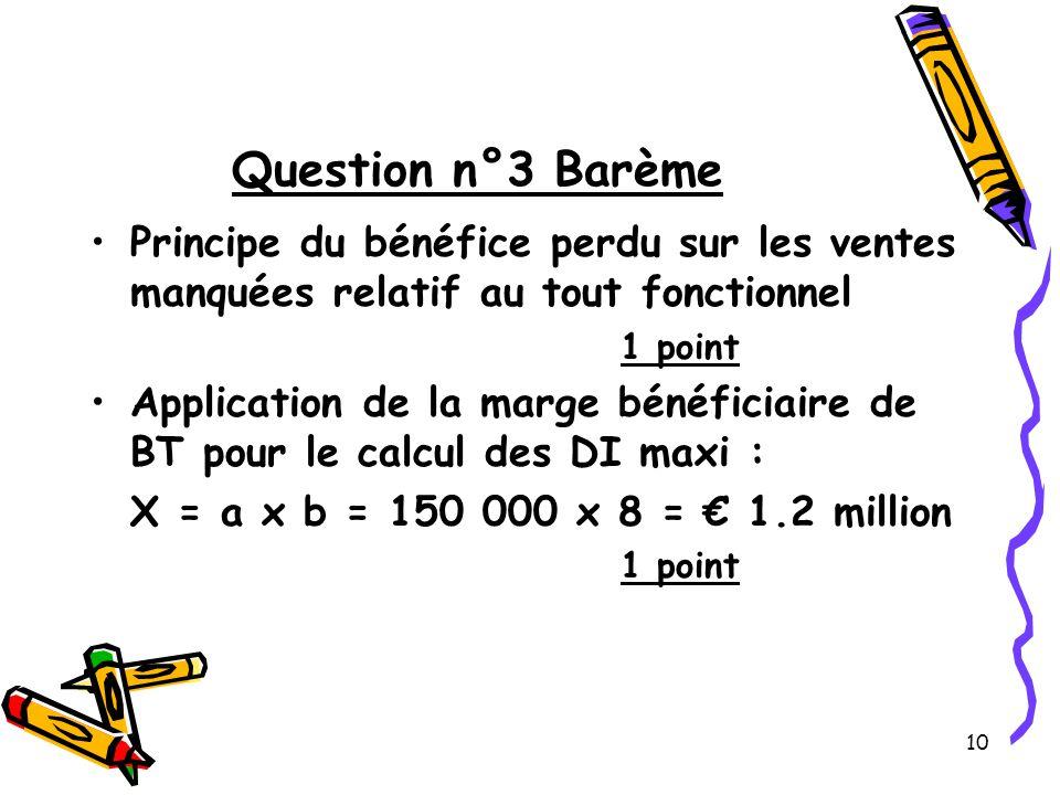 10 Question n°3 Barème Principe du bénéfice perdu sur les ventes manquées relatif au tout fonctionnel 1 point Application de la marge bénéficiaire de BT pour le calcul des DI maxi : X = a x b = 150 000 x 8 = 1.2 million 1 point