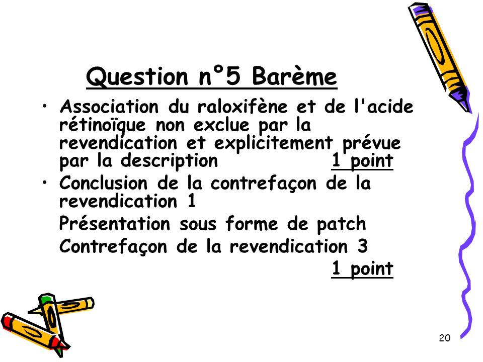20 Question n°5 Barème Association du raloxifène et de l acide rétinoïque non exclue par la revendication et explicitement prévue par la description 1 point Conclusion de la contrefaçon de la revendication 1 Présentation sous forme de patch Contrefaçon de la revendication 3 1 point