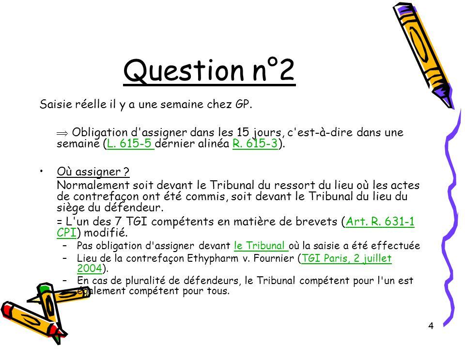 15 Question n°4 IV) Nouveauté Rappel du principe énoncé par la décision G 06/83.G 06/83 Comparaison de la revendication 1 par rapport à D1.