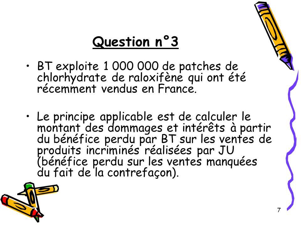 18 Question n°5 Analyse de la matérialité de la contrefaçon du patch ACNEDERM® Il convient tout d abord de procéder à une analyse de l annexe C, puis à une comparaison à l objet des revendications successives 1, 2 et 3 de B2 en relevant l ensemble des ressemblances ainsi que des éventuelles différences et adjonctions éventuelles.