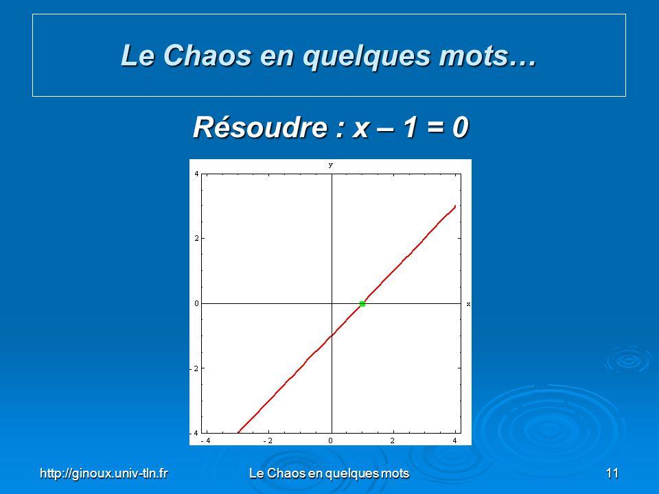 http://ginoux.univ-tln.frLe Chaos en quelques mots11 Le Chaos en quelques mots… Résoudre : x – 1 = 0