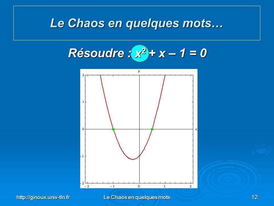 http://ginoux.univ-tln.frLe Chaos en quelques mots12 Le Chaos en quelques mots… Résoudre : x 2 + x – 1 = 0