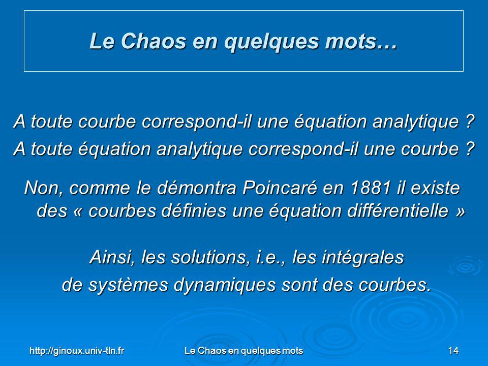 http://ginoux.univ-tln.frLe Chaos en quelques mots14 Le Chaos en quelques mots… A toute courbe correspond-il une équation analytique ? A toute équatio