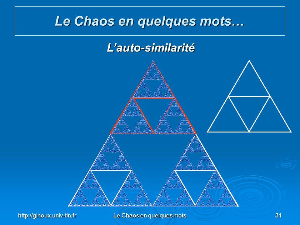 http://ginoux.univ-tln.frLe Chaos en quelques mots31 Le Chaos en quelques mots… Lauto-similarité