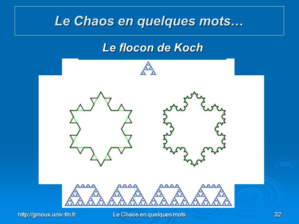 http://ginoux.univ-tln.frLe Chaos en quelques mots32 Le Chaos en quelques mots… Le triangle de Sierpinski Le flocon de Koch