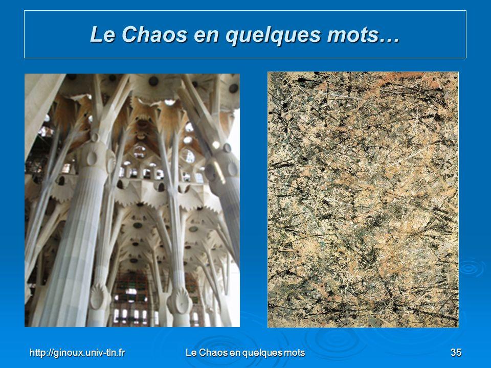 http://ginoux.univ-tln.frLe Chaos en quelques mots35 Le Chaos en quelques mots…