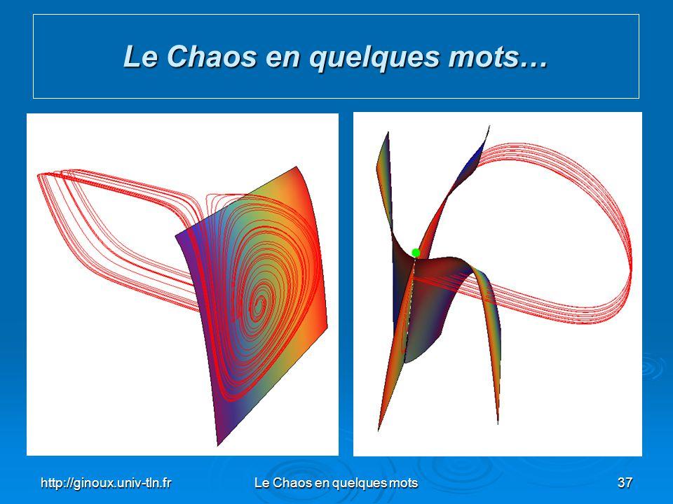 http://ginoux.univ-tln.frLe Chaos en quelques mots37 Le Chaos en quelques mots…