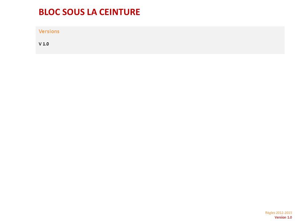 Règles 2012-2013 Version 1.0 BLOC SOUS LA CEINTURE Versions V 1.0