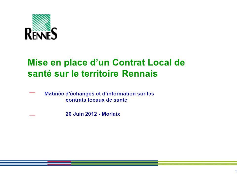 1 Matinée déchanges et dinformation sur les contrats locaux de santé 20 Juin 2012 - Morlaix Mise en place dun Contrat Local de santé sur le territoire Rennais