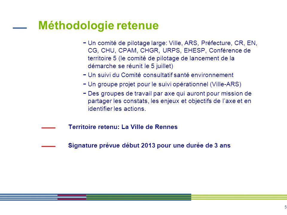 5 Méthodologie retenue - Un comité de pilotage large: Ville, ARS, Préfecture, CR, EN, CG, CHU, CPAM, CHGR, URPS, EHESP, Conférence de territoire 5 (le comité de pilotage de lancement de la démarche se réunit le 5 juillet) - Un suivi du Comité consultatif santé environnement - Un groupe projet pour le suivi opérationnel (Ville-ARS) - Des groupes de travail par axe qui auront pour mission de partager les constats, les enjeux et objectifs de laxe et en identifier les actions.