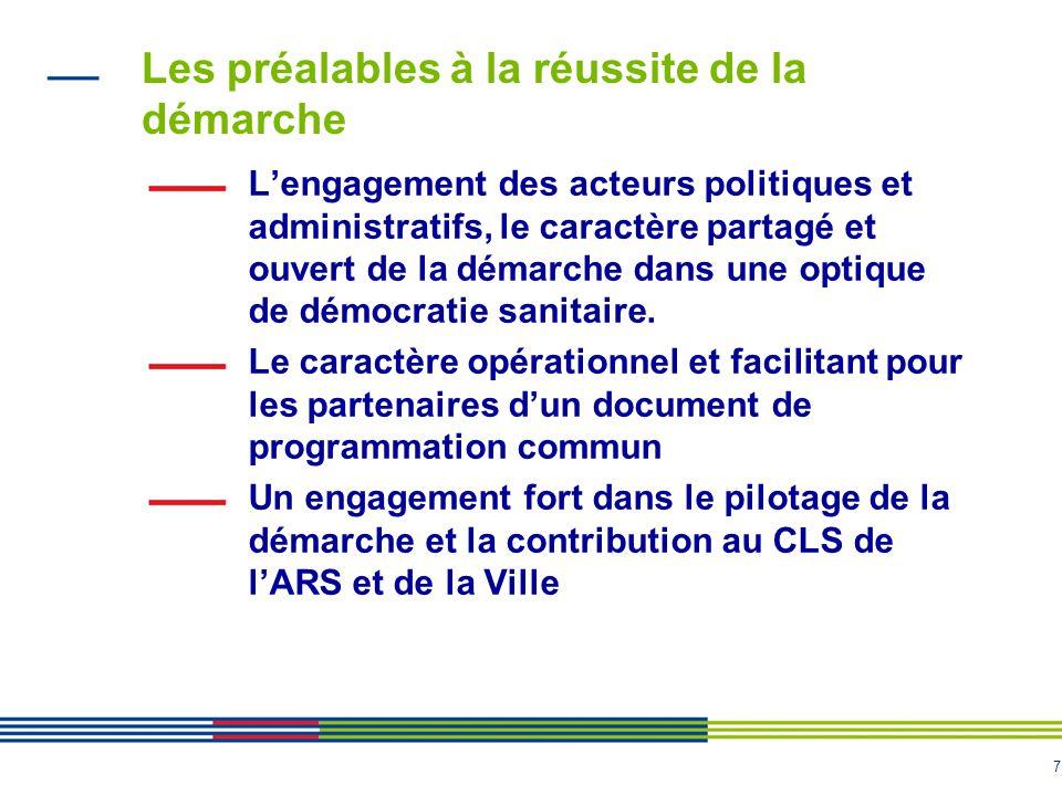 7 Les préalables à la réussite de la démarche Lengagement des acteurs politiques et administratifs, le caractère partagé et ouvert de la démarche dans une optique de démocratie sanitaire.