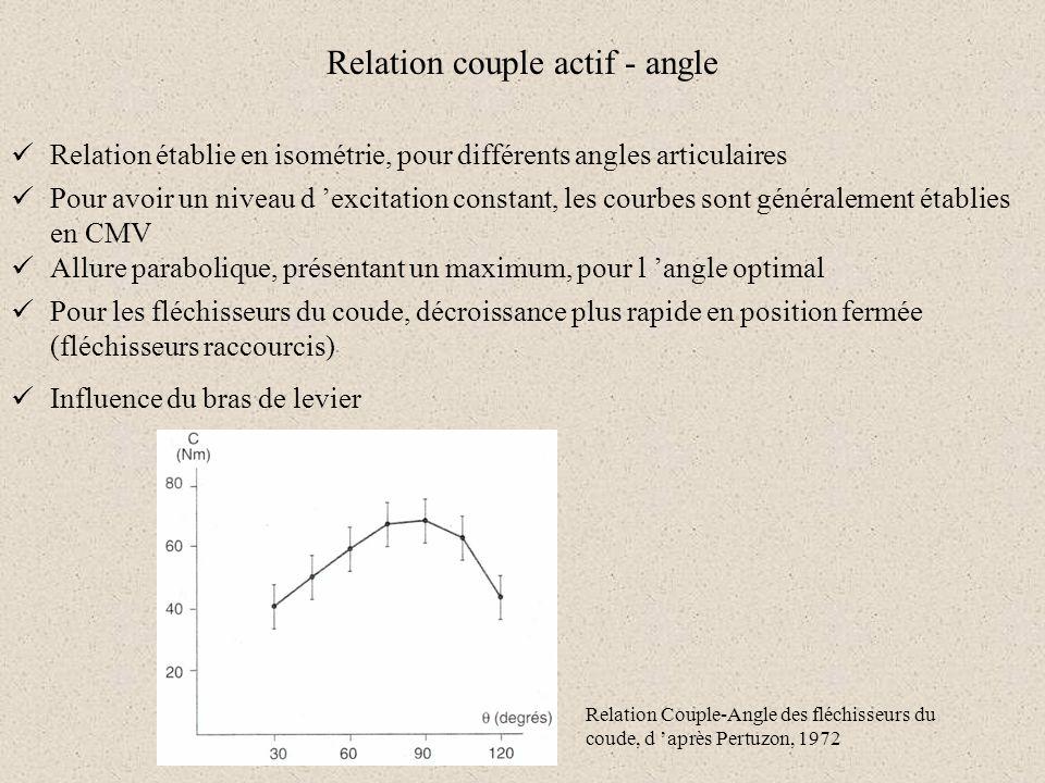 Relation couple actif - angle Relation établie en isométrie, pour différents angles articulaires Pour avoir un niveau d excitation constant, les courb