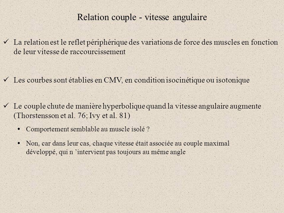 Relation couple - vitesse angulaire La relation est le reflet périphérique des variations de force des muscles en fonction de leur vitesse de raccourc