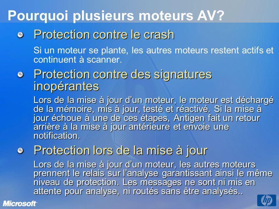 Pourquoi plusieurs moteurs AV? Protection contre le crash Si un moteur se plante, les autres moteurs restent actifs et continuent à scanner. Protectio