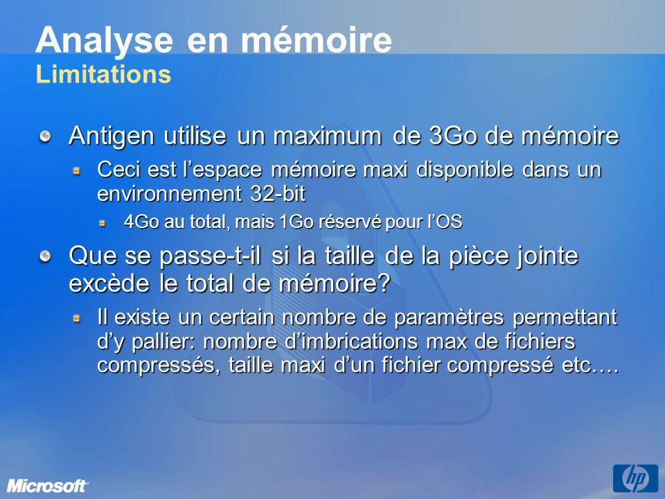 Analyse en mémoire Limitations Antigen utilise un maximum de 3Go de mémoire Ceci est lespace mémoire maxi disponible dans un environnement 32-bit 4Go