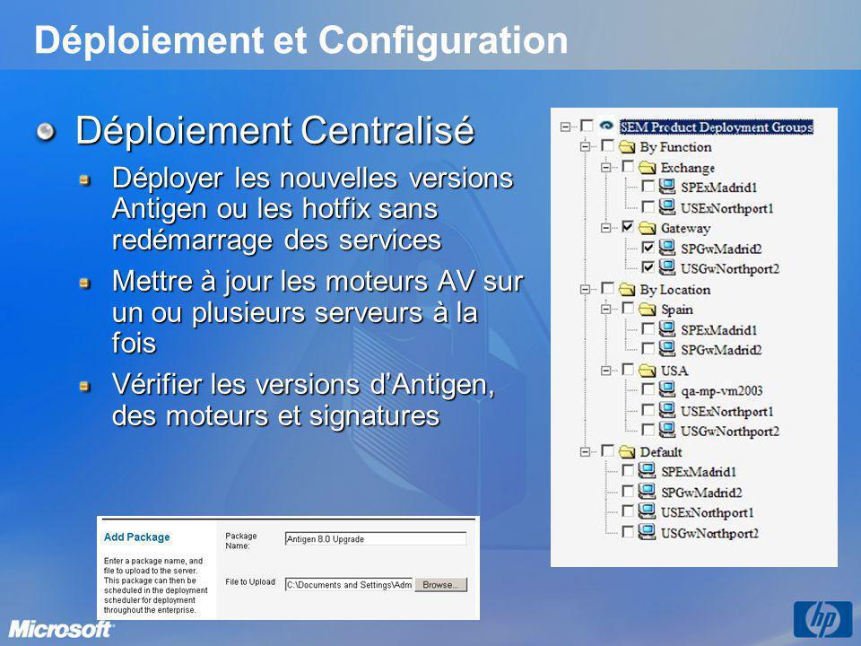 Déploiement et Configuration Déploiement Centralisé Déployer les nouvelles versions Antigen ou les hotfix sans redémarrage des services Mettre à jour