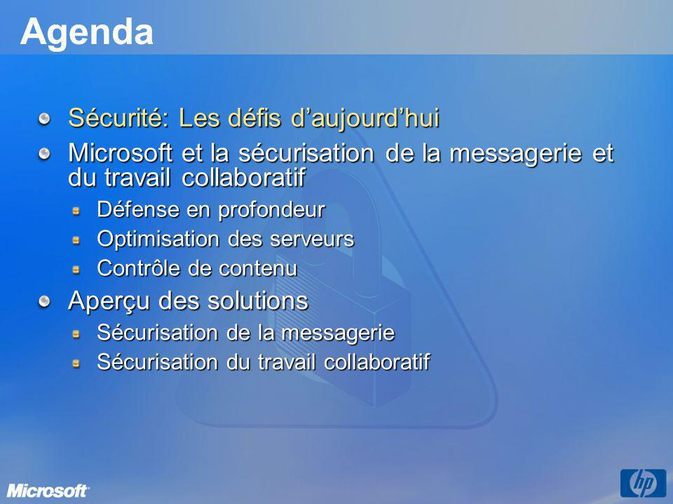 Agenda Sécurité: Les défis daujourdhui Microsoft et la sécurisation de la messagerie et du travail collaboratif Défense en profondeur Optimisation des