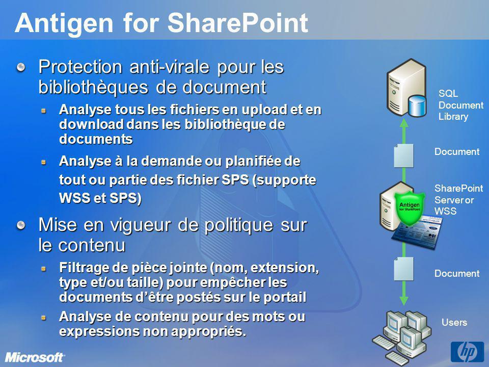Antigen for SharePoint Protection anti-virale pour les bibliothèques de document Analyse tous les fichiers en upload et en download dans les bibliothè