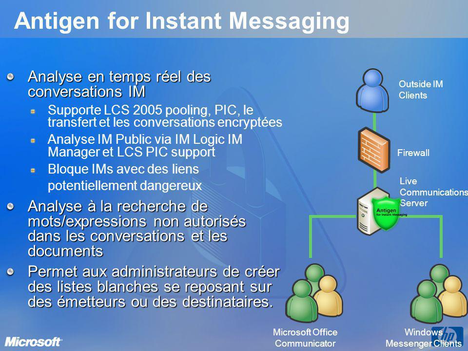 Antigen for Instant Messaging Analyse en temps réel des conversations IM Supporte LCS 2005 pooling, PIC, le transfert et les conversations encryptées