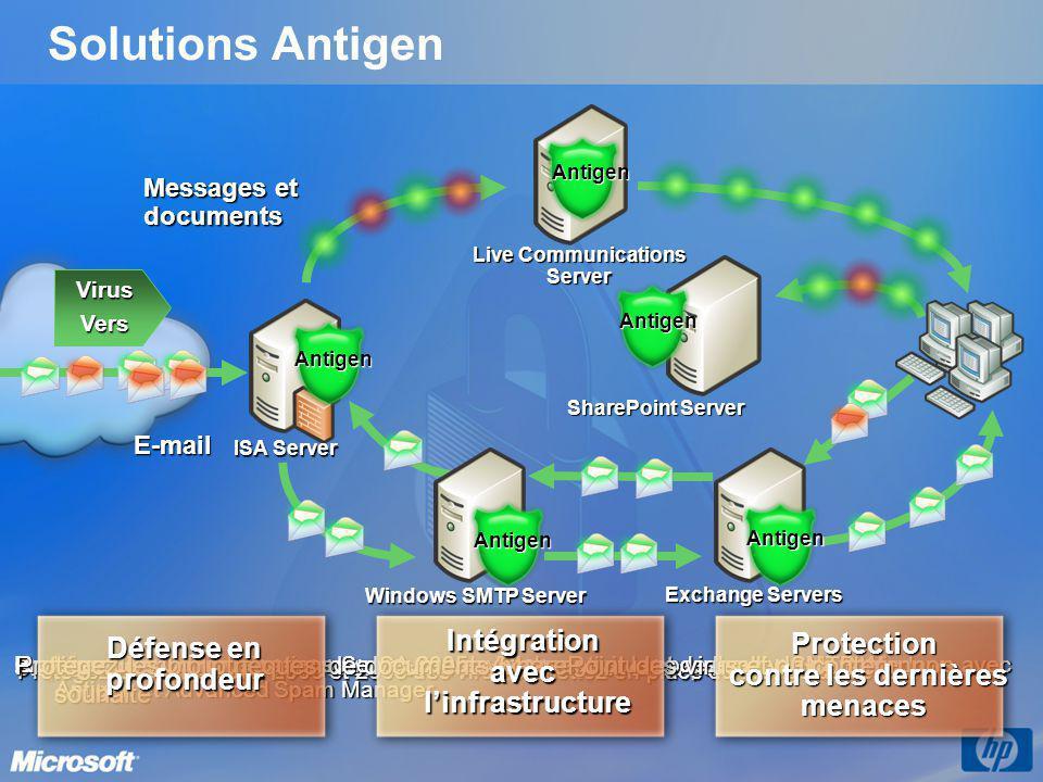 Live Communications Server SharePoint Server Exchange Servers ISA Server Windows SMTP Server VirusVers Stoppez les virus à la périphérie du réseau ave