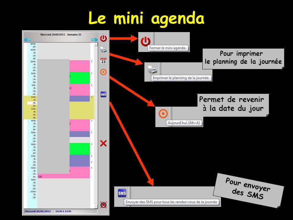 Le mini agenda Permet de revenir à la date du jour Pour imprimer le planning de la journée Pour envoyer des SMS