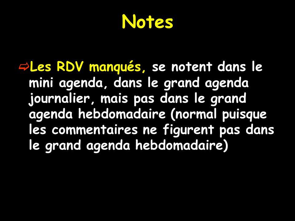 Notes Les RDV manqués, se notent dans le mini agenda, dans le grand agenda journalier, mais pas dans le grand agenda hebdomadaire (normal puisque les