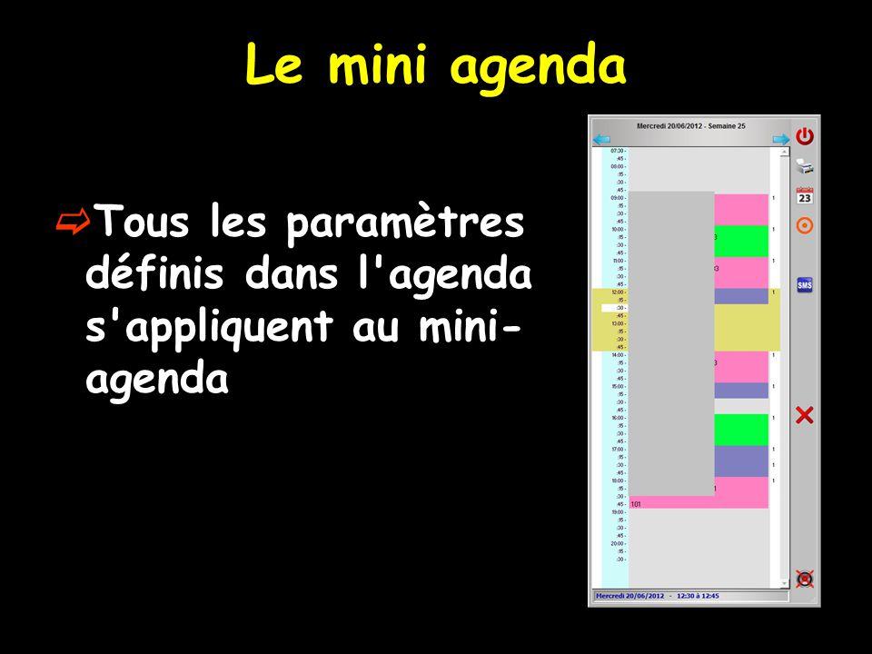Le mini agenda Tous les paramètres définis dans l'agenda s'appliquent au mini- agenda