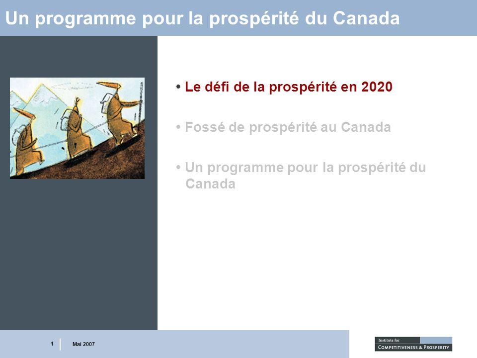 1 Mai 2007 Un programme pour la prospérité du Canada Le défi de la prospérité en 2020 Fossé de prospérité au Canada Un programme pour la prospérité du