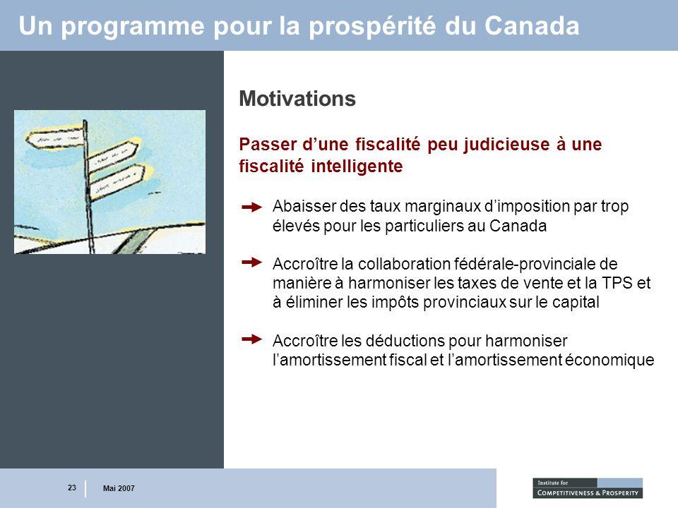 23 Mai 2007 Un programme pour la prospérité du Canada Motivations Passer dune fiscalité peu judicieuse à une fiscalité intelligente Abaisser des taux