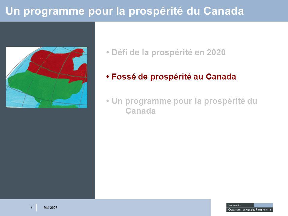 7 Mai 2007 Un programme pour la prospérité du Canada Défi de la prospérité en 2020 Fossé de prospérité au Canada Un programme pour la prospérité du Ca