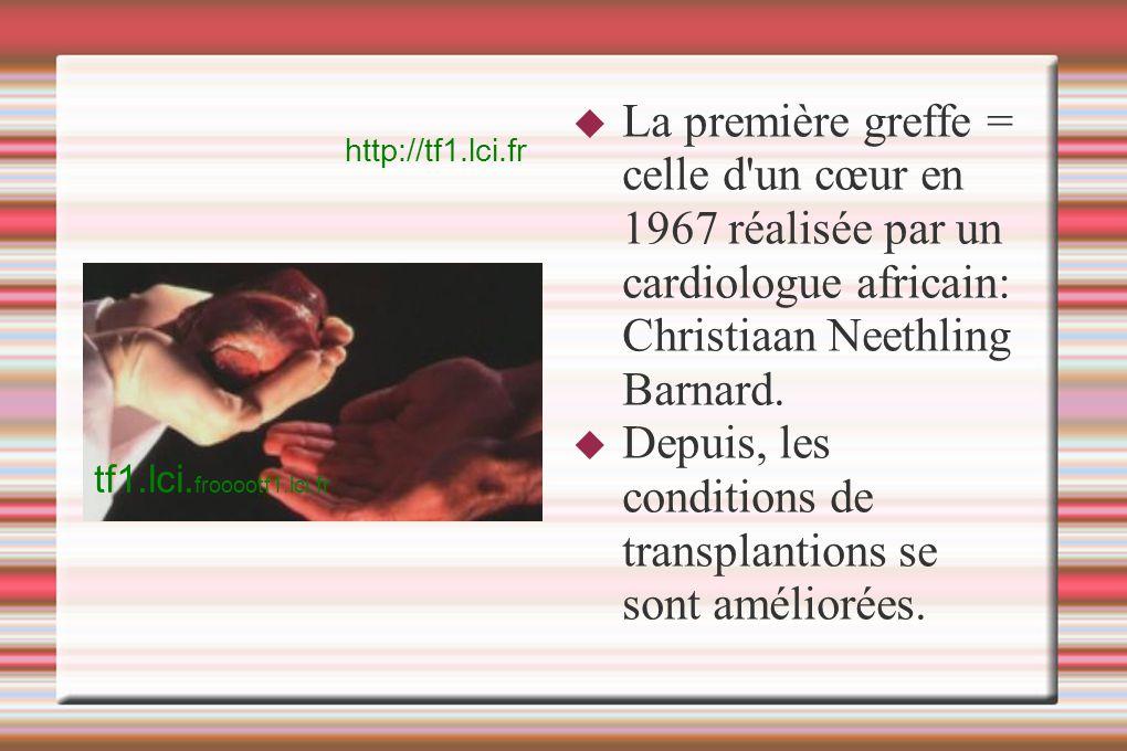 La première greffe = celle d'un cœur en 1967 réalisée par un cardiologue africain: Christiaan Neethling Barnard. Depuis, les conditions de transplanti