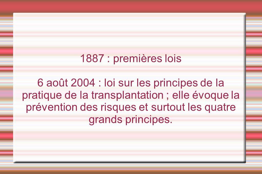 1887 : premières lois 6 août 2004 : loi sur les principes de la pratique de la transplantation ; elle évoque la prévention des risques et surtout les